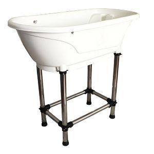 Badkar plast litet på stålställning